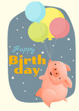 Birthday and invitation card animal background with pig Stock Image