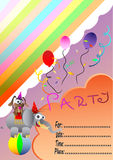 Birthday invitation card with circus animals Royalty Free Stock Photography
