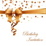 Birthday invitation card with gold ribbon. Illustration of Birthday invitation card with gold ribbon Royalty Free Stock Image