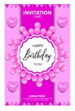 BIRTHDAY INVITATION CARD WITH PINK COLORS royalty free illustration
