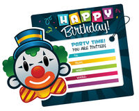 Vector Birthday Clown Invitation Stock Photography