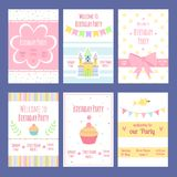 Birthday invitation cards. Vector template with place for your text. Birthday card, invitation and greeting, decoration poster at holiday illustration stock illustration