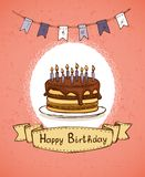 Birthday invitation with chocolate cake Stock Images