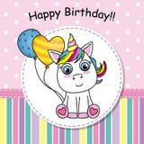 Birthday invitation. Cute Unicorn with balloon. Greeting card Cute Unicorn with balloon. birthday invitation Royalty Free Stock Photos