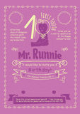 Birthday Invitation Flier with Hand-Drawn Calligraphic Frames, Borders and Swirls Stock Photo