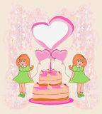 Birthday invitation,girl holding balloons Royalty Free Stock Images