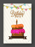 Birthday Invitation or Greeting Card. Birthday Celebration Invitation or Greeting Card design with colorful Cake Royalty Free Stock Photography