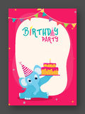Birthday Invitation or Greeting Card. Birthday Celebration Invitation or Greeting Card design with illustration of a cute elephant holding Cake Stock Photo