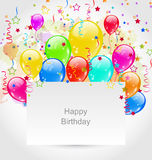 Birthday Invitation with Multicolored Balloons and Confetti. Illustration Birthday Invitation with Multicolored Balloons and Confetti - Vector Royalty Free Stock Photography