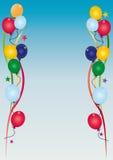Birthday invitation sky. Illustrated birthday invitation with a lot of balloons Royalty Free Stock Photos