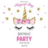 Birthday invitation with unicorn royalty free illustration