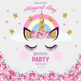 Birthday invitation with unicorn. Cute Birthday invitation with unicorn, gliter and flags. Unicorn with closed eyes royalty free illustration