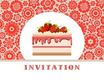 Invitation, strawberry cake, gray-red, floral background, vector. Birthday invitation, wedding. A holiday, a family celebration. Cake with strawberries on a Stock Image