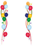Birthday invitation white. Illustrated birthday invitation with a lot of balloons Royalty Free Stock Photos