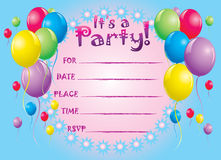 Birthday invite card. Colorful party invite card background illustration Royalty Free Stock Photo