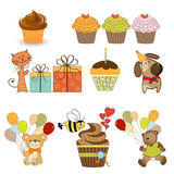Birthday items set in vector format Royalty Free Stock Images