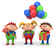 Birthday kids. Cute cartoon kids with birthday presents - high quality 3d illustration Royalty Free Stock Photos