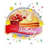 Birthday label with cake and candle. Birthday label with cake and birthday candle Stock Images