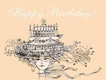Birthday  lady sketch Stock Photography