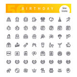 Birthday Line Icons Set. Set of 56 Happy Birthday line icons suitable for web, infographics and apps. on white background. Clipping paths included vector illustration
