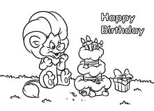 Birthday lion animal coloring pages Stock Images