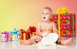 Birthday of a little boy. The kid eats cake. Royalty Free Stock Photo