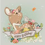 Birthday little deer with flowers royalty free illustration