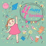 Birthday of the little girl 4 years. Greeting card. Or invitation for birthday party Stock Image