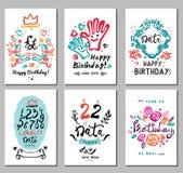 Birthday logo, symbols and illustrations. Holiday cards to print Royalty Free Stock Photos