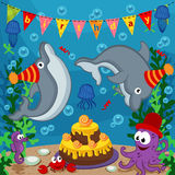 Birthday marine animals Stock Images
