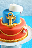 Birthday marine cake for a child Royalty Free Stock Images