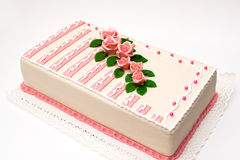 Birthday marzipan cake. Birthday cake with marzipan rose Stock Photo