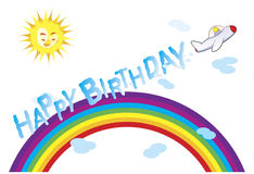 "Birthday message. A sun smiling while an airplane fly above rainbow and its gas forming the word ""Happy Birthday vector illustration"