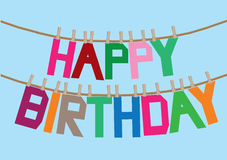 Birthday message on the clothesline Royalty Free Stock Image