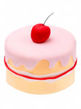 Birthday mini cake with red apple isolated on white background Stock Photos