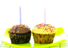 Birthday mini muffin Royalty Free Stock Photography