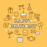 Birthday minimal outline icons Stock Photos