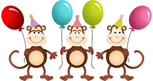 Birthday monkeys with balloons Royalty Free Stock Photography