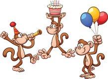 Birthday monkeys. Cartoon birthday monkeys. Vector clip art illustration with simple gradients. Each on a separate layer Royalty Free Stock Photo