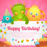 Birthday monsters card Stock Images