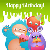 Birthday monsters card Stock Photos