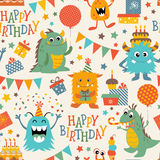 Birthday monsters pattern Royalty Free Stock Photos