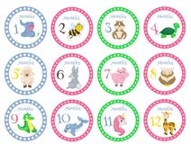Birthday month stickers with animals for babies vector illustration. Monthly cards zoo funny poster template. Creative cartoon month cards wild character Stock Photo