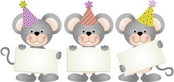 Birthday mouses with signboards Royalty Free Stock Photo