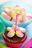 Birthday muffin cake with one candle. Birthday muffin cake decorated with marshmallow flower and one candle Royalty Free Stock Images