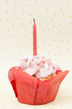 Birthday muffin with candle. Birthday strawberry muffin with candle Royalty Free Stock Photography