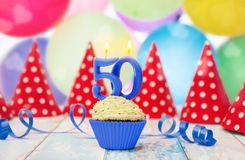 Birthday muffin with candle for birthday party Royalty Free Stock Images
