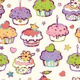 Birthday muffins seamless pattern background Royalty Free Stock Photos