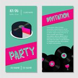 Birthday music cake. Dance party bilateral invitation for nightclub with vinyl record. Dance party invitation for nightclub with vinyl record. Birthday music stock illustration