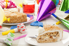Birthday nougat cake with colorful decoration Stock Photography